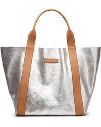 Brunello Cucinelli - Metallic Textured-leather Tote - Lyst