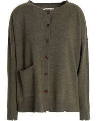 Current/Elliott - Distressed Wool And Cashmere-blend Cardigan Army Green - Lyst