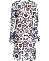 Christopher Kane - Floral-appliquéd Embroidered Satin Dress - Lyst