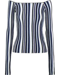 Jacquemus - Off-the-shoulder Striped Ribbed Wool Sweater - Lyst