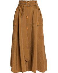 Nina Ricci - Crinkled Taffeta Midi Skirt Light Brown - Lyst