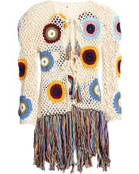 Talitha - Woman Fringed Crocheted Cotton Jacket Ivory - Lyst