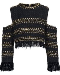 Balmain - Cold-shoulder Embellished Metallic Tweed Top - Lyst