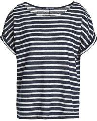 Petit Bateau - Woman Striped Slub Linen-jersey T-shirt Navy - Lyst