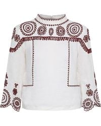 M.i.h Jeans Broderie Anglaise Cotton And Ramie-blend Gauze Top White