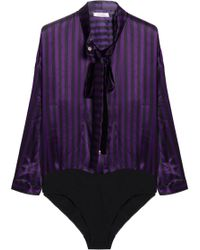 Nina Ricci - Pussy-bow Striped Silk-satin Bodysuit - Lyst