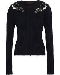 Giambattista Valli - Embellished Ribbed Wool, Silk And Cashmere-blend Cardigan - Lyst