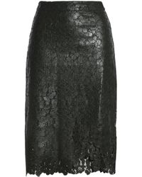 House of Holland - Wrap-effect Coated Corded Lace Skirt Forest Green - Lyst