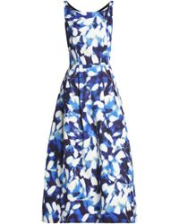 MILLY - Flared Printed Cotton-blend Faille Gown - Lyst