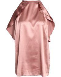 Brunello Cucinelli - Ruffled Cold-shoulder Embellished Silk-blend Satin Top - Lyst