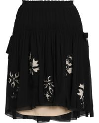 Chloé - Embroidered Silk-georgette Mini Skirt - Lyst