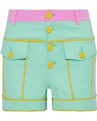Moschino - Button-detailed Color-block Stretch-cotton Shorts - Lyst