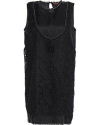 N°21 - Crystal-embellished Layered Guipure Lace And Twill Mini Dress - Lyst