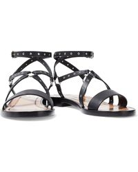 Valentino - Woman Love Latch Eyelet-embellished Leather Sandals Black - Lyst