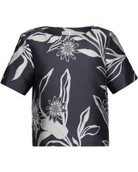 SUNO - Floral Satin-jacquard Top - Lyst