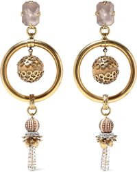 Elizabeth Cole - Woman 24-karat Gold-plated, Crystal And Bead Earrings Gold - Lyst