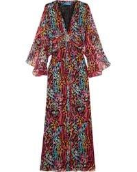 Matthew Williamson - Akita Embellished Printed Silk-chiffon Maxi Dress - Lyst