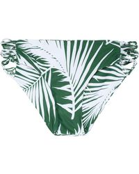 Mikoh Swimwear - Low-rise Two-tone Printed Cutout Stretch-knit Bikini Briefs Forest Green - Lyst