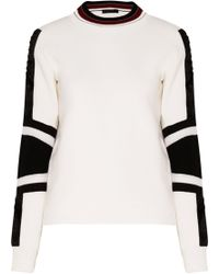 Belstaff - Woman Kaydence Faux Fur-trimmed Two-tone Wool Jumper Off-white - Lyst