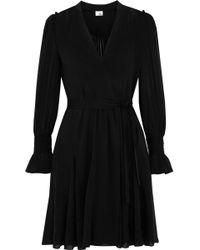 Iris & Ink Gabriella Wrap-effect Chiffon Mini Dress Black