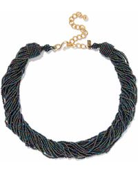 Kenneth Jay Lane - Gold-tone Iridescent Bead Necklace - Lyst