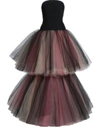 Oscar de la Renta - Two-tone Tiered Duchesse-satin And Tulle Gown - Lyst