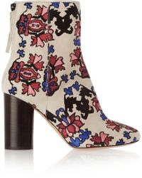 Isabel Marant - Guya Embroidered Suede Boots - Lyst