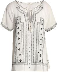 Joie - Tasselled Embroidered Silk Crepe De Chine Blouse - Lyst