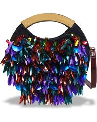 Delpozo - Sequin-embellished Calf Hair And Patent-leather Clutch - Lyst