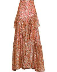 Peter Pilotto - Tiered Silk-blend Fil Coupé And Organza Maxi Skirt Antique Rose - Lyst