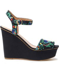 Tory Burch - Embroidered Canvas Wedge Sandals - Lyst