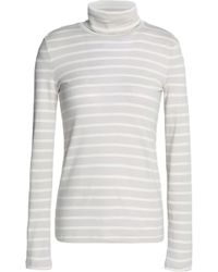 Petit Bateau - Striped Cotton-jersey Turtleneck Top Light Gray - Lyst