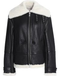 Helmut Lang - Aviator Shearling-trimmed Leather Jacket - Lyst