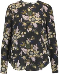 A.L.C. - Cooper Open-back Printed Silk-georgette Top - Lyst