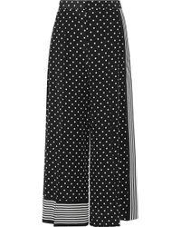 Stella McCartney - Cropped Printed Silk Crepe De Chine Wide-leg Pants - Lyst