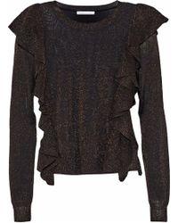 Rebecca Minkoff - Lou Ruffled Metallic Stretch-knit Jumper - Lyst