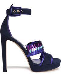 Jimmy Choo - Kathleen Metallic-trimmed Suede Platform Sandals - Lyst