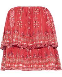 Joie - Lyane Strapless Layered Printed Silk-blend Chiffon Top - Lyst