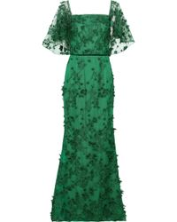Marchesa notte - Woman Off-the-shoulder Floral-appliquéd Embroidered Tulle Gown Emerald - Lyst
