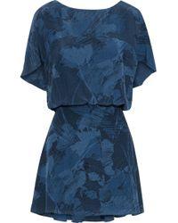 Halston - Printed Silk-chiffon Mini Dress - Lyst