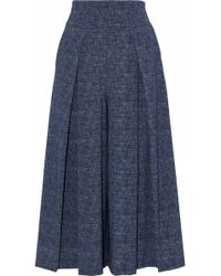MILLY - Pleated Denim Culottes - Lyst