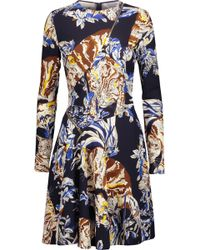 Stella McCartney - Barale Zip-detailed Printed Crepe Mini Dress Midnight Blue - Lyst