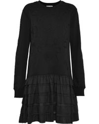 Opening Ceremony - Tiered Voile-paneled Embroidered French Cotton-terry Mini Dress - Lyst