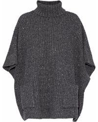 Rebecca Minkoff - Woman Ribbed-knit Poncho Dark Grey - Lyst