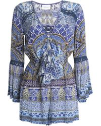 Camilla - Tie-front Printed Silk Crepe De Chine Playsuit - Lyst