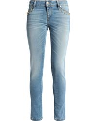 Just Cavalli - Studded Faded Low-rise Skinny Jeans - Lyst