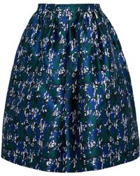 Oscar de la Renta - Pleated Silk And Cotton-blend Jacquard Skirt - Lyst