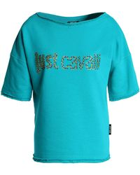 Just Cavalli - Crystal-embellished French Cotton-blend Terry Top - Lyst