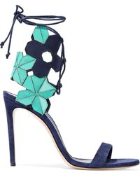 Casadei - Lace-up Laser-cut Leather And Suede Sandals - Lyst