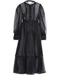 Maison Margiela - Satin-trimmed Pintucked Organza Maxi Dress - Lyst